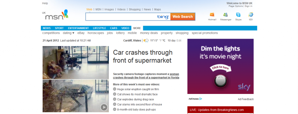 MSN homepage screenshot