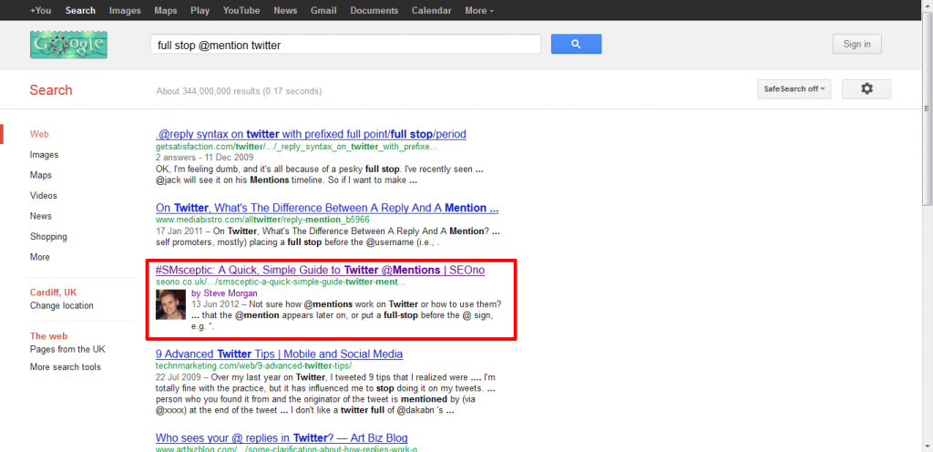 SEOno result SERP screenshot