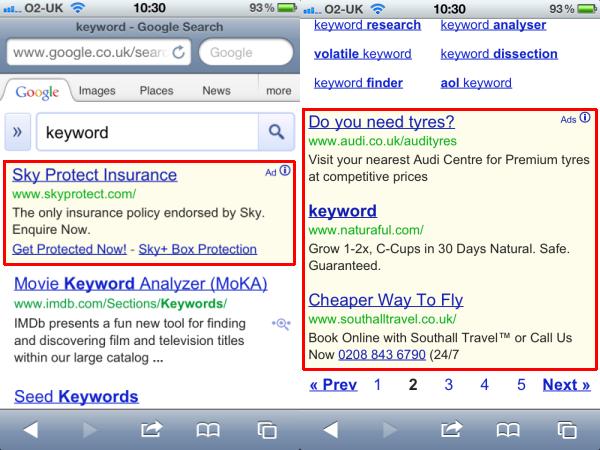 "iPhone screenshots for ""keyword"""
