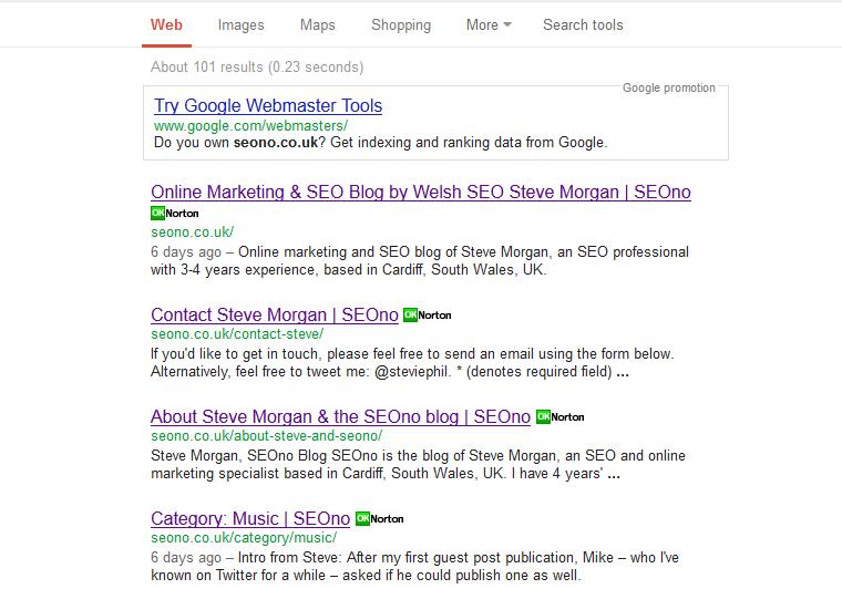 Search for [site:seono.co.uk] screenshot, 17th Feb