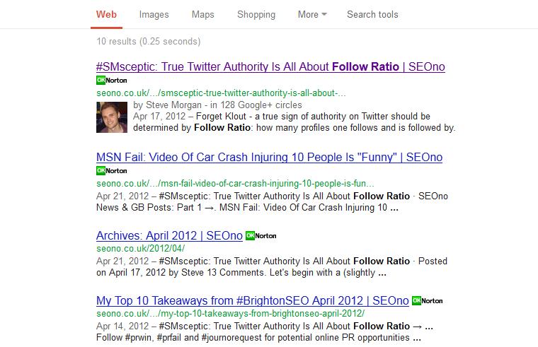 Search for [site:seono.co.uk follow ratio] screenshot, 17th Feb
