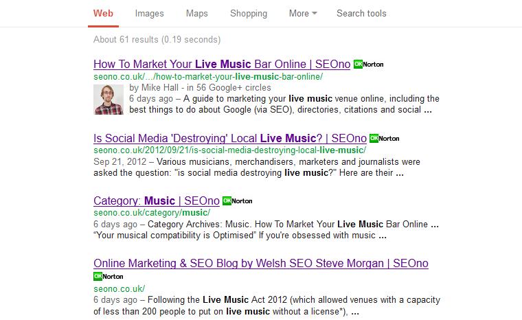 Search for [site:seono.co.uk live music] screenshot, 17th Feb