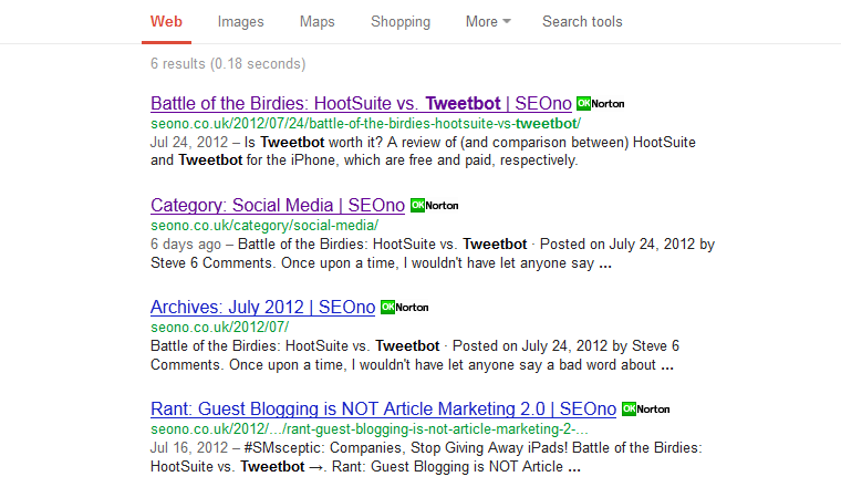 Search for [site:seono.co.uk tweetbot] screenshot, 17th Feb