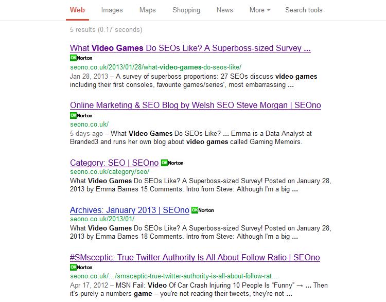 Search for [site:seono.co.uk] screenshot, 6th Feb