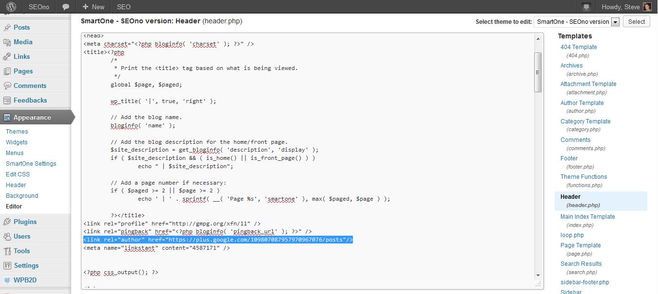 WordPress Editor header.php screenshot