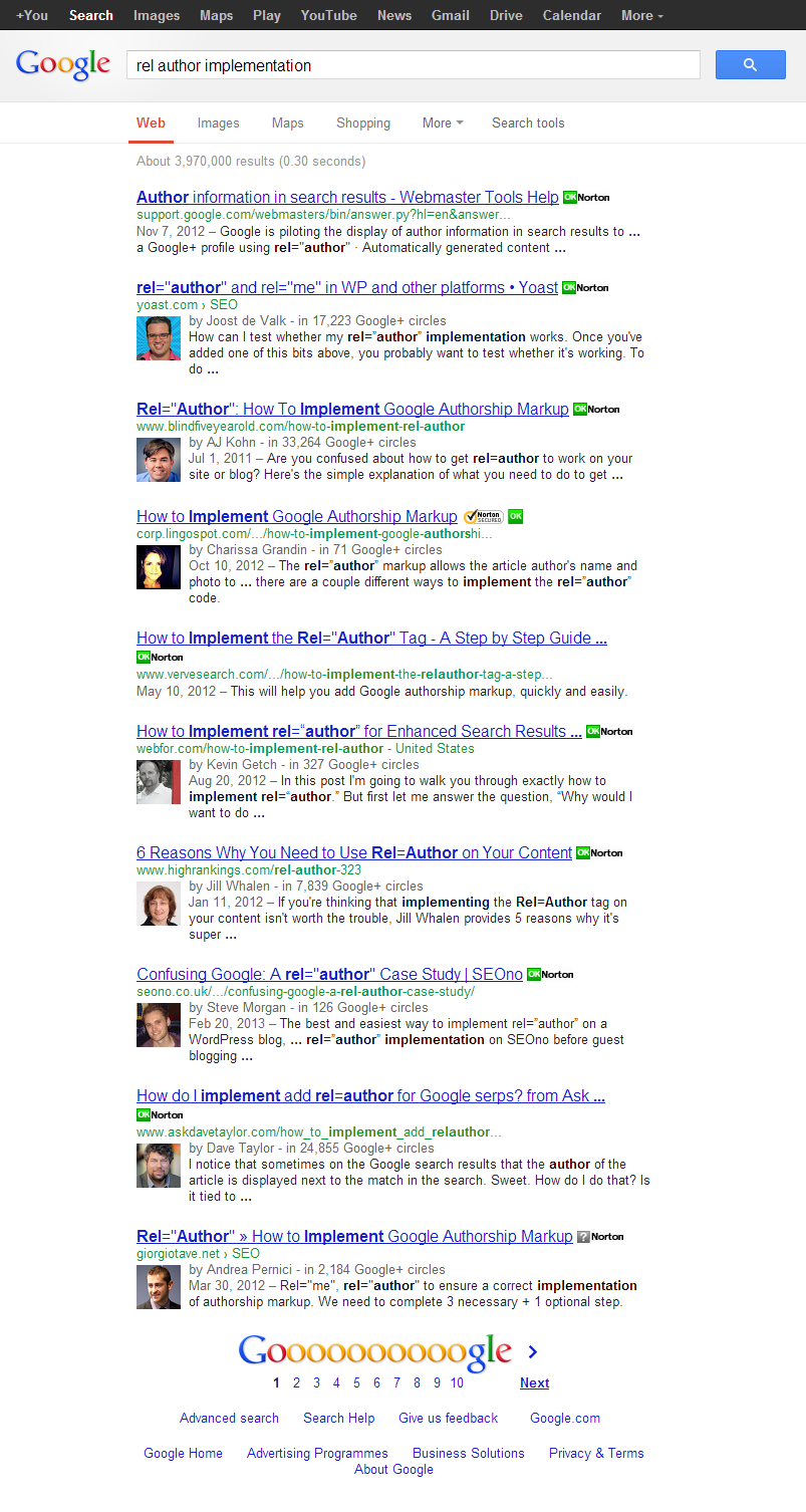 "rel=""author"" SERP screenshot"