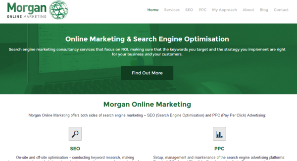 Morgan Online Marketing homepage screenshot