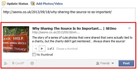 Facebook URL Box screenshot