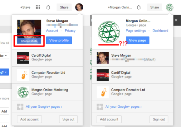 Google+ profile vs. Google+ Local screenshot