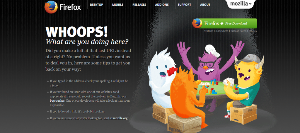 Soft 404 example 1 - Mozilla