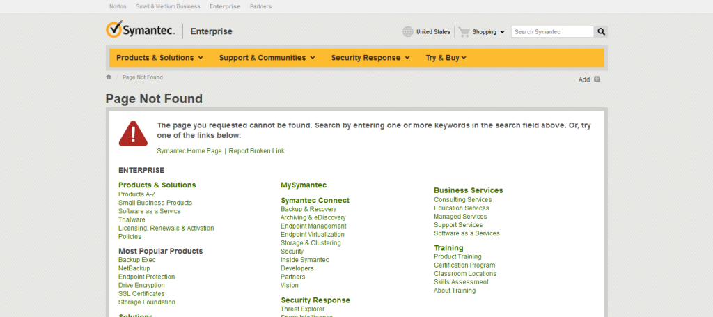 Soft 404 example 2 - Symantec