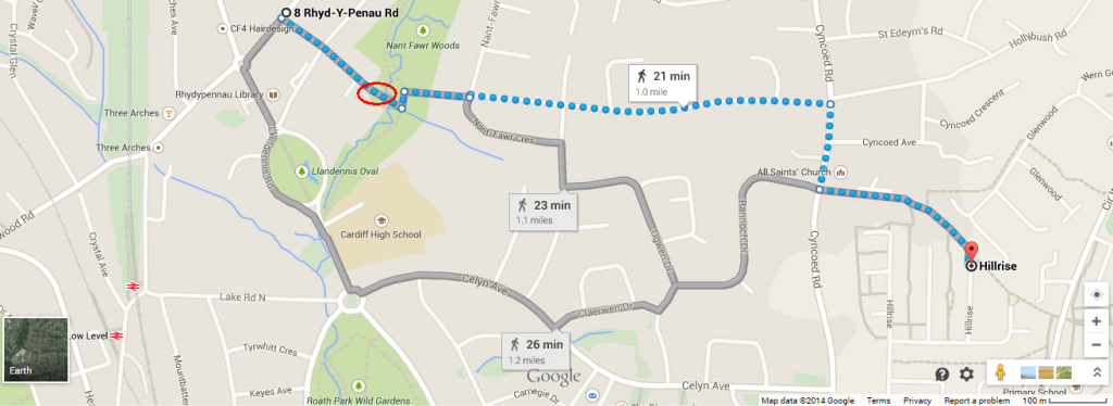 Google Maps walking route screenshot
