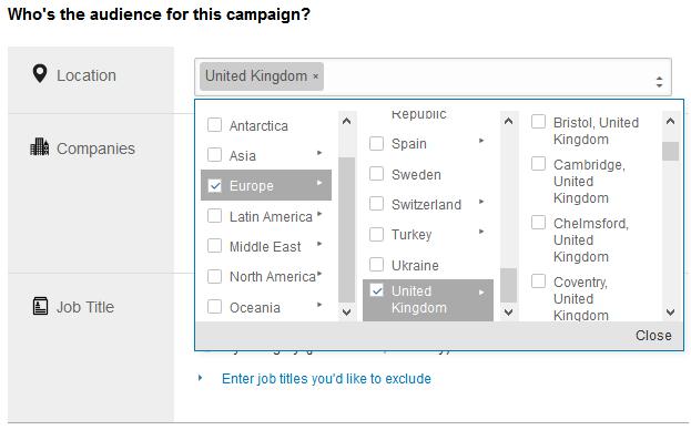 LinkedIn Ads UK Location Targeting screenshot