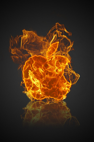Apple on fire logo