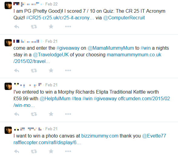 Competition site participant's Twitter profile - example