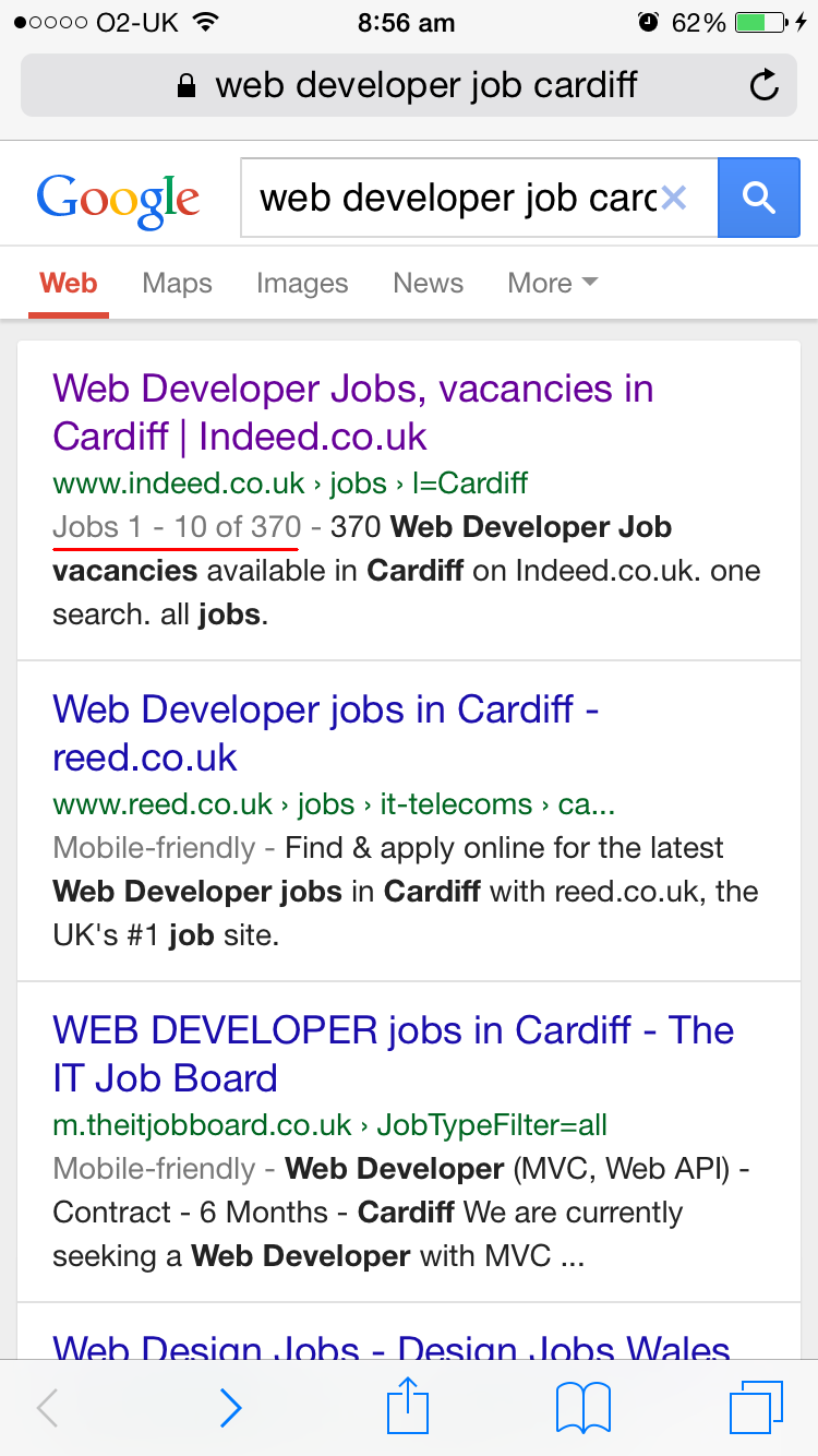 Mobile SERP - Indeed.co.uk (highlighted) screenshot