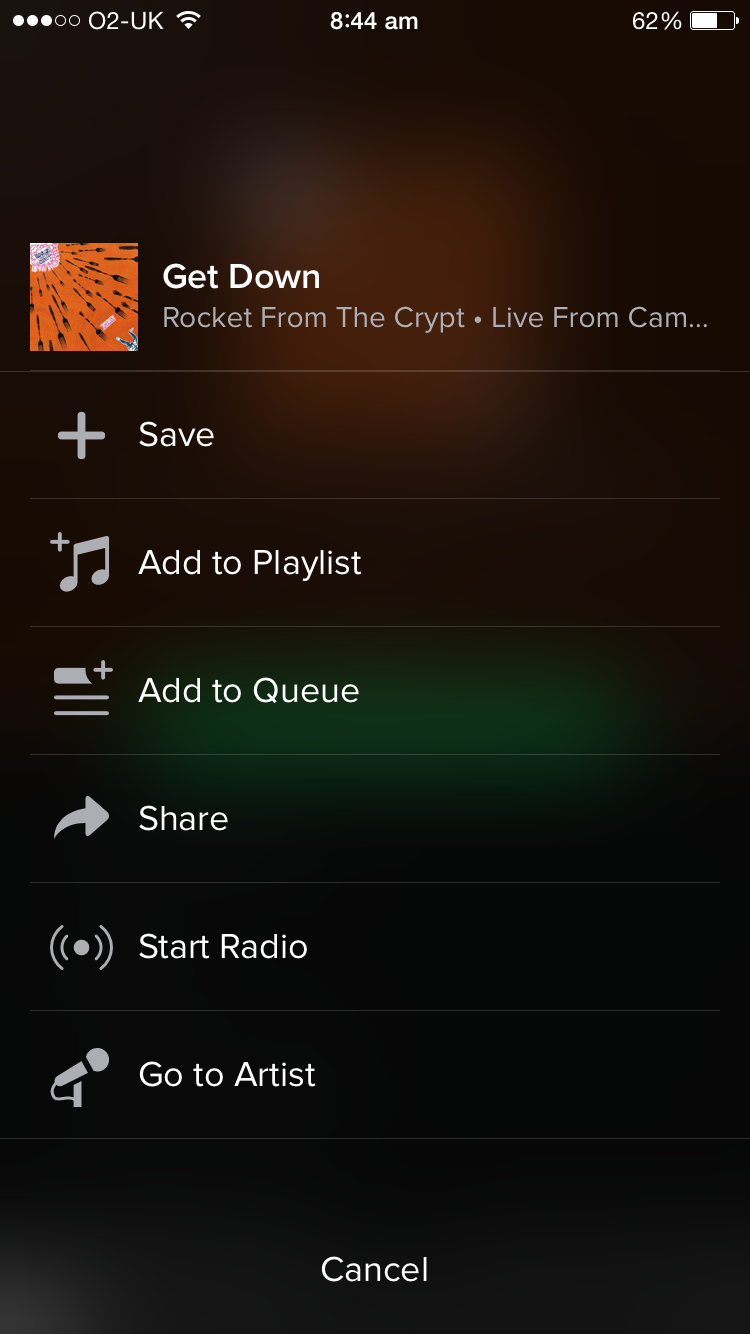 Spotify example - mobile screenshot
