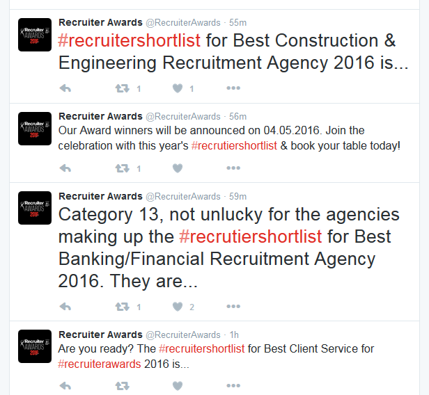 @RecruiterAwards screenshot (without replies)