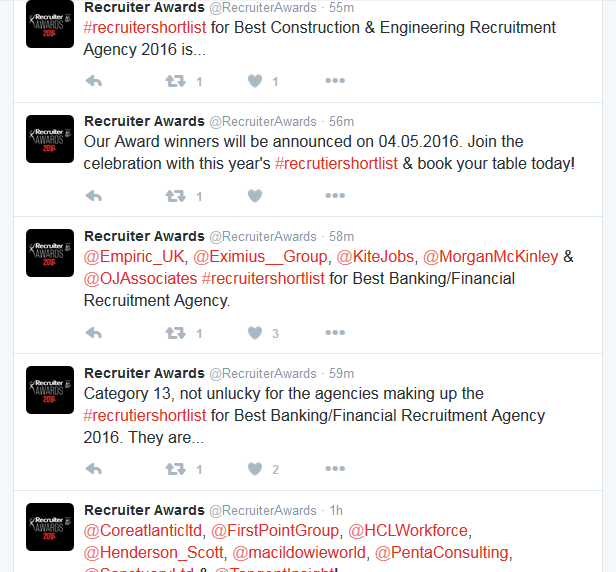 @RecruiterAwards screenshot (with replies)