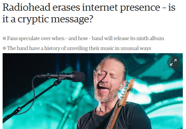 Radiohead on the Guardian screenshot