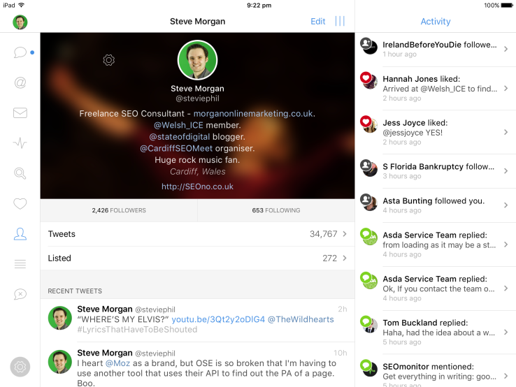 Tweetbot (iPad) bio, with returns screenshot