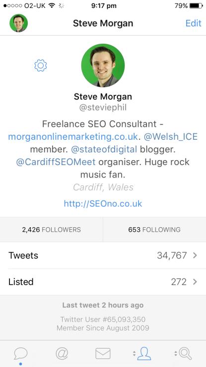 Tweetbot (iPhone) bio, no returns screenshot