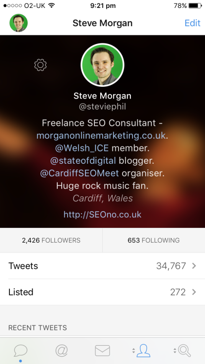 Tweetbot (iPhone) bio, with returns screenshot