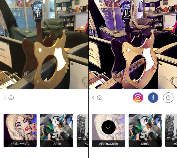 Prisma interface - before & after screenshots