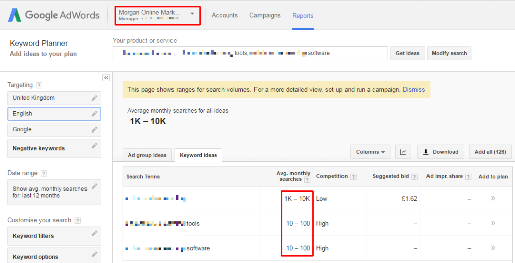 Keyword planner data ranges screenshot