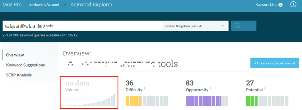 Moz Explorer no data screenshot