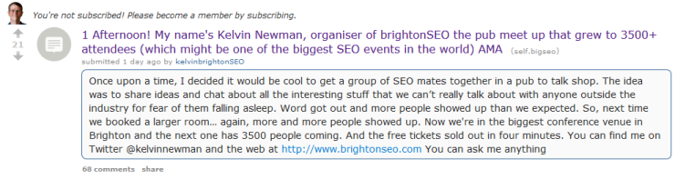 Kelvin Newman's AMA on Reddit screenshot