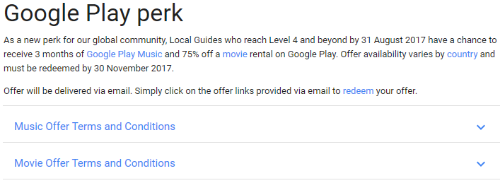 Google Local Guides perk screenshot
