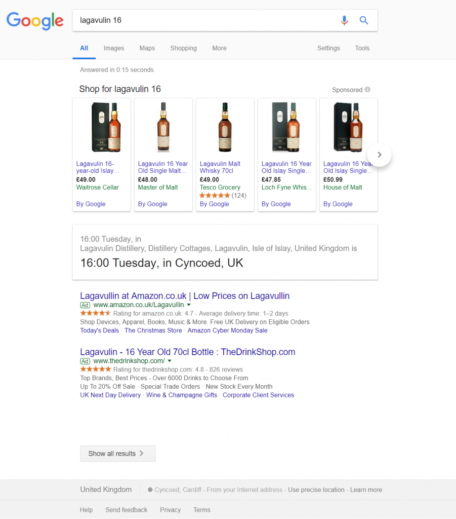 """lagavulin 16"" search screenshot"