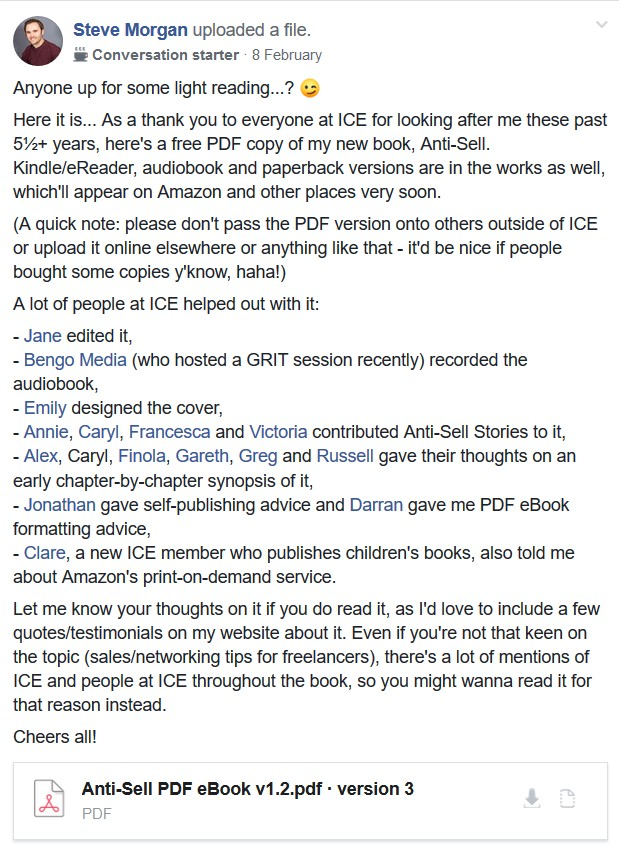 Welsh ICE Facebook group post