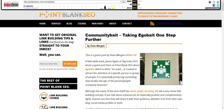 Point Blank SEO post screenshot