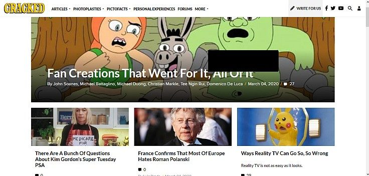 Cracked homepage screenshot